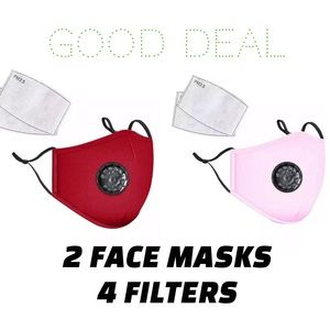 Accessories - 💎DEAL💎 2 Washable Red and Pink Face covers